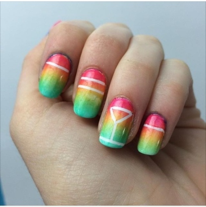 nail art gradient cocktail