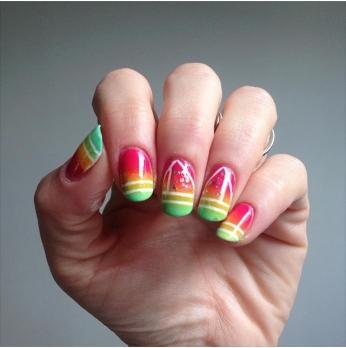 nail art gradient maillot de bain